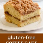 Gluten-free coffee cake with cinnamon streusel topping.
