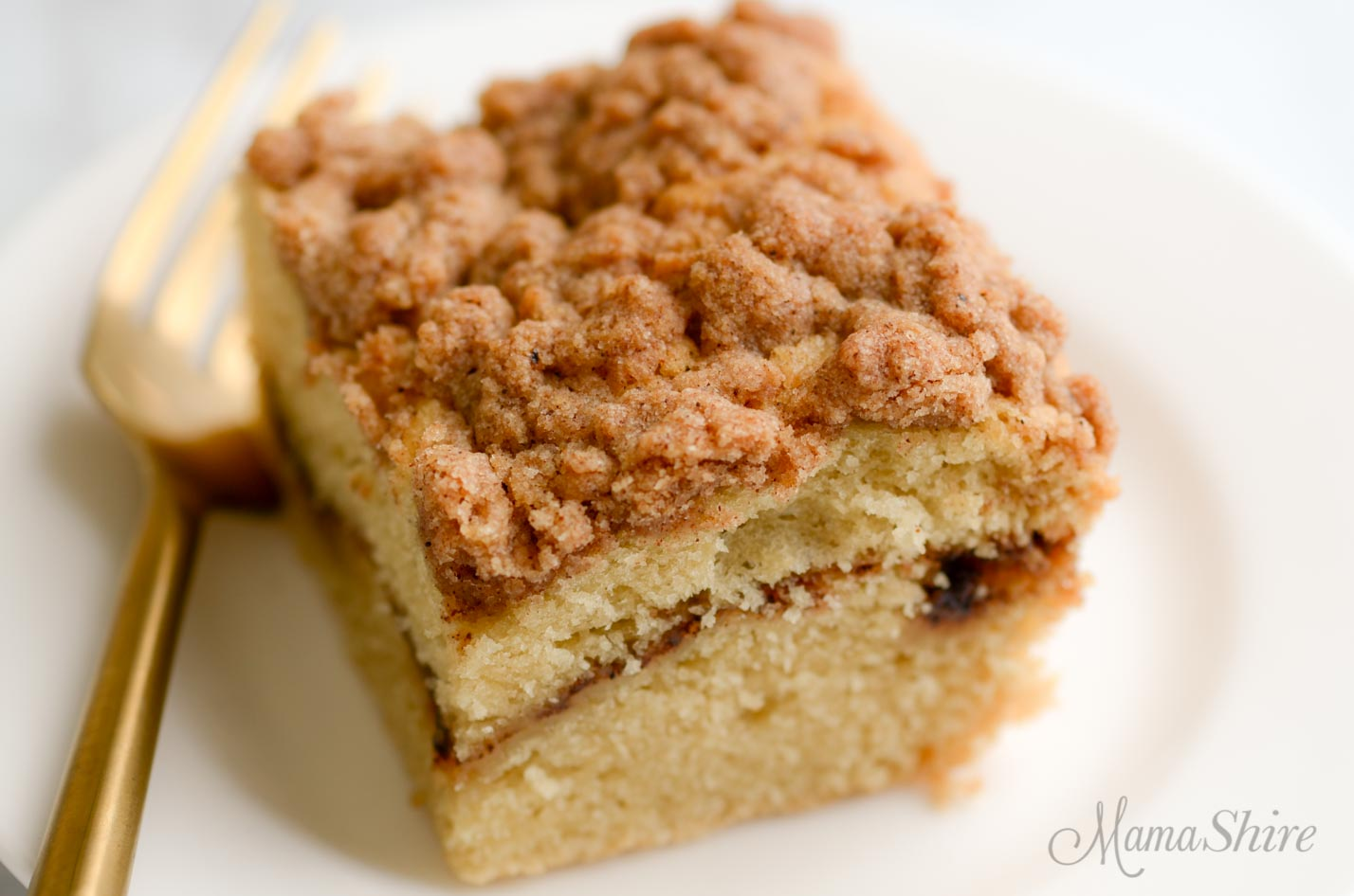 Gluten-free coffee cake recipe with cinnamon streusel topping and a layer of cinnamon and brown sugar in the middle.