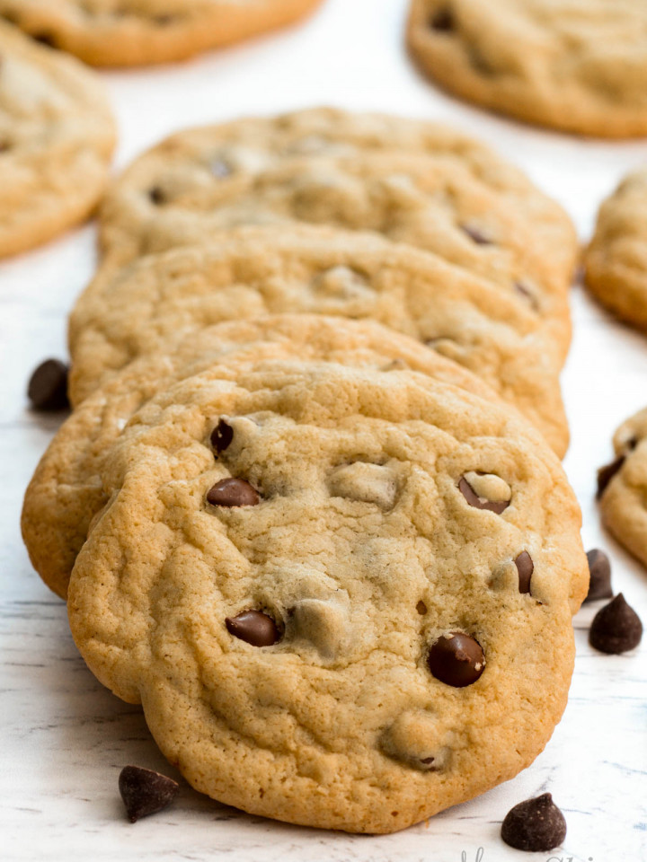 A stack of yummy gluten-free chocolate chip cookies.