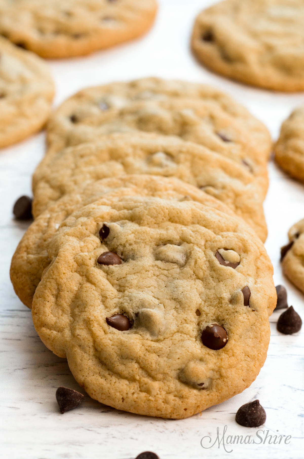 A cookie sheet full of delicious gluten-free and dairy-free chocolate chip cookies.