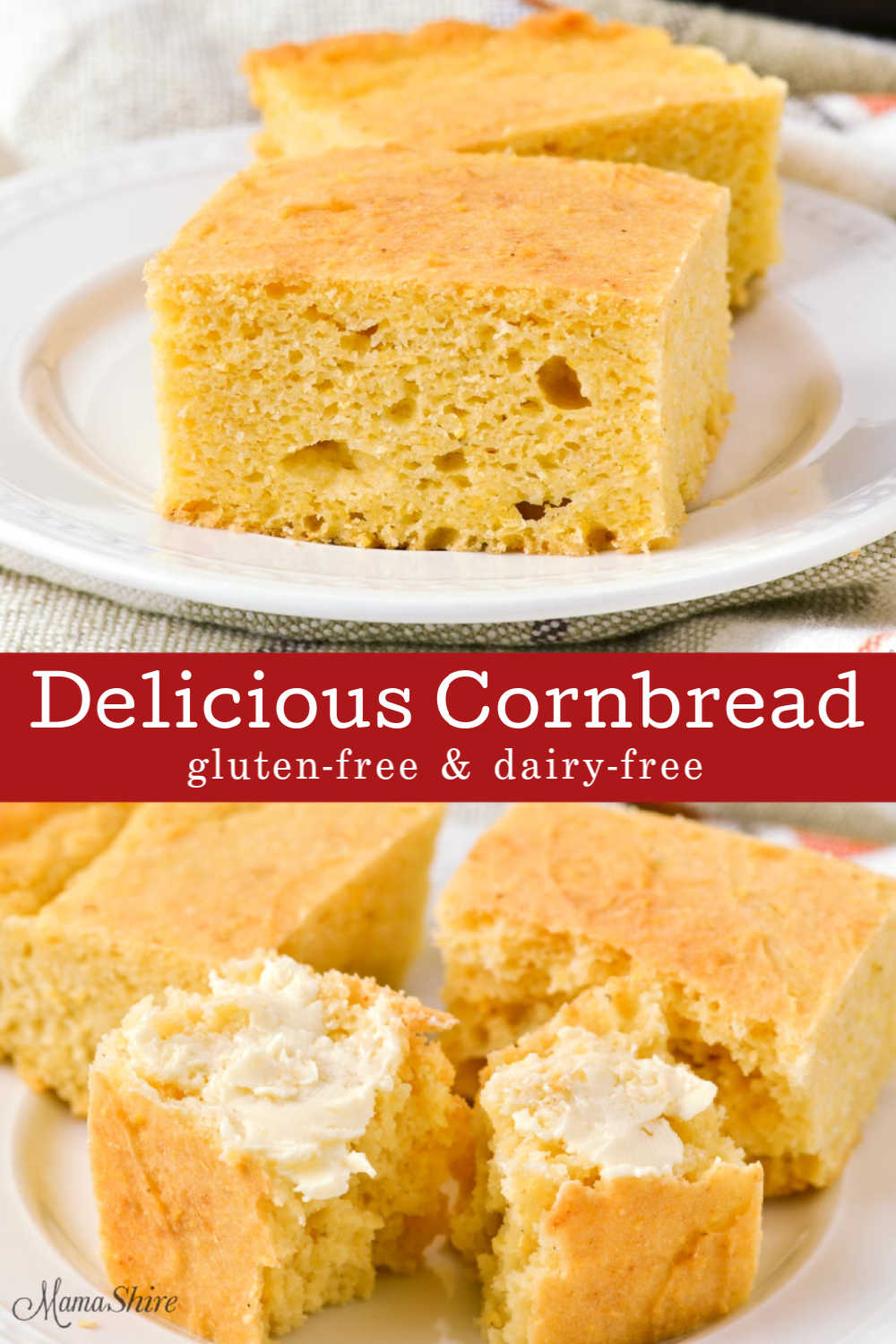 Cornbread squares with non-dairy butter made from the best gluten-free cornbread recipe.