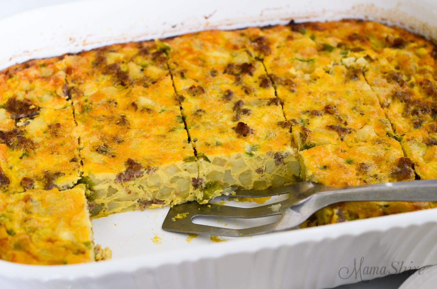 Breakfast casserole with hashbrowns. .