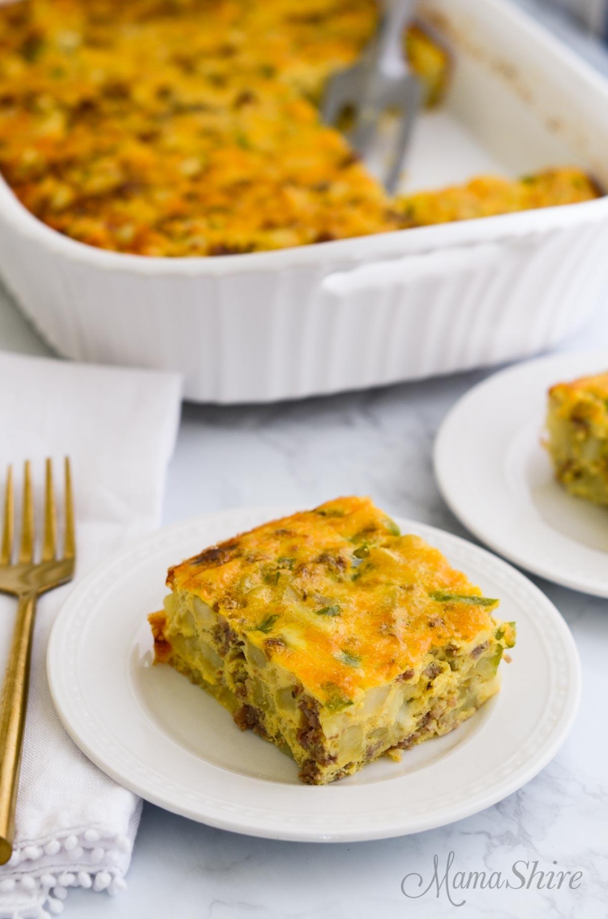 Overnight breakfast casserole made from a gluten-free recipe.