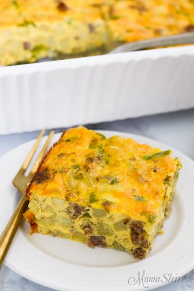 A serving of breakfast casserole made from a gluten-free dairy-free recipe.