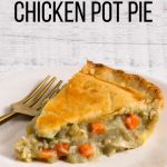 Gluten-Free and Dairy-Free chicken pot pie on a white dinner plate.