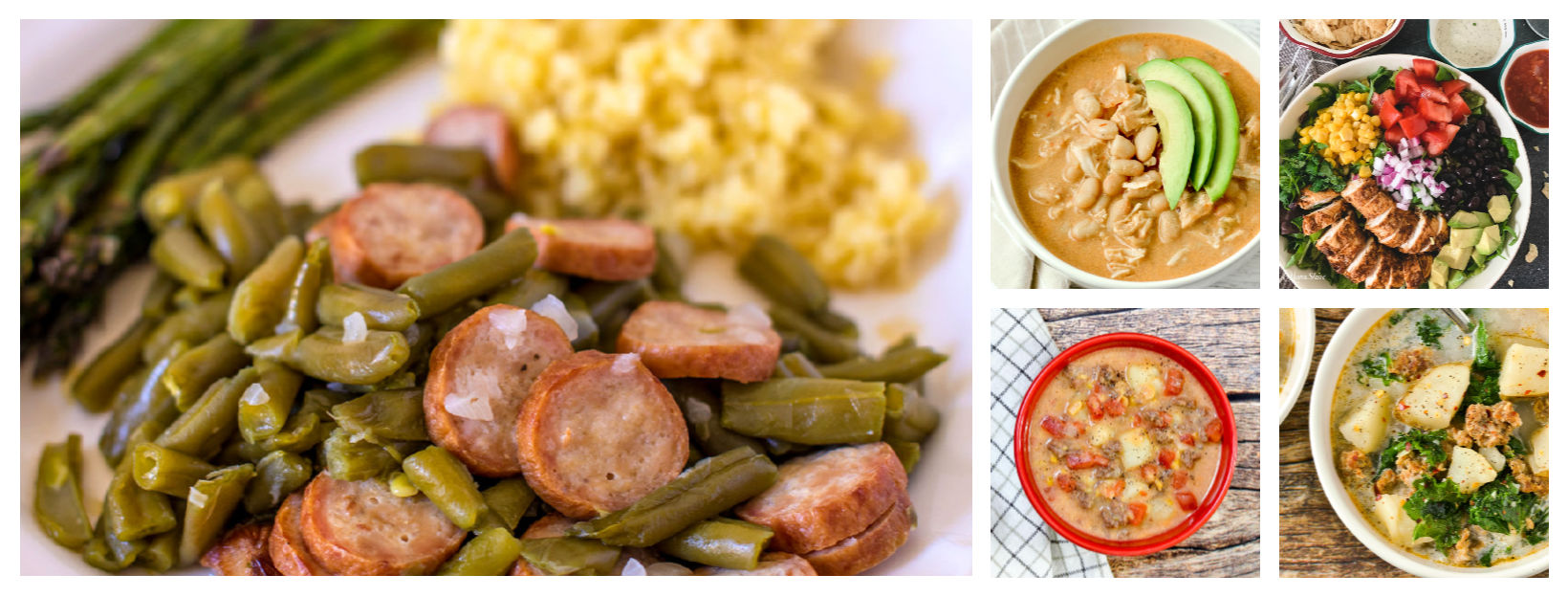 A collage of gluten-free dinners.