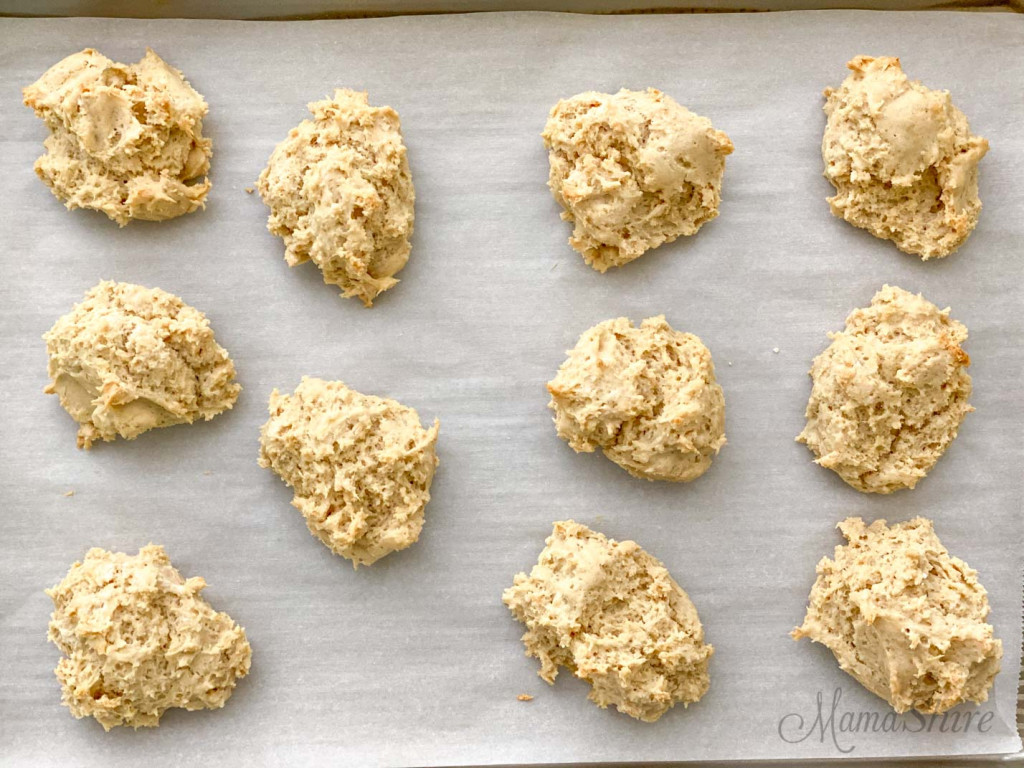 Freshly baked gluten-free drop biscuits.
