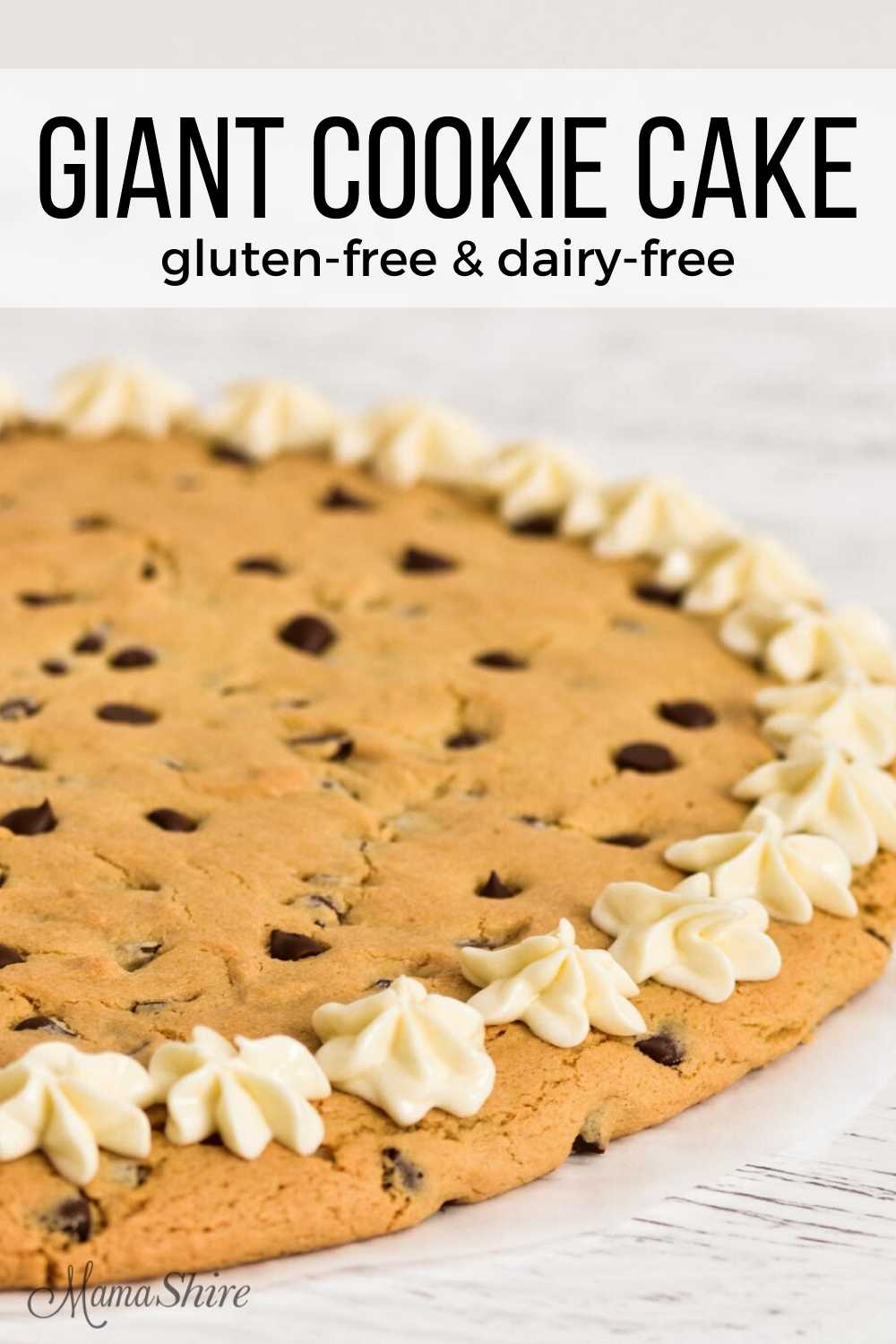 Gluten-free pizza cookie with chocolate chips and icing.