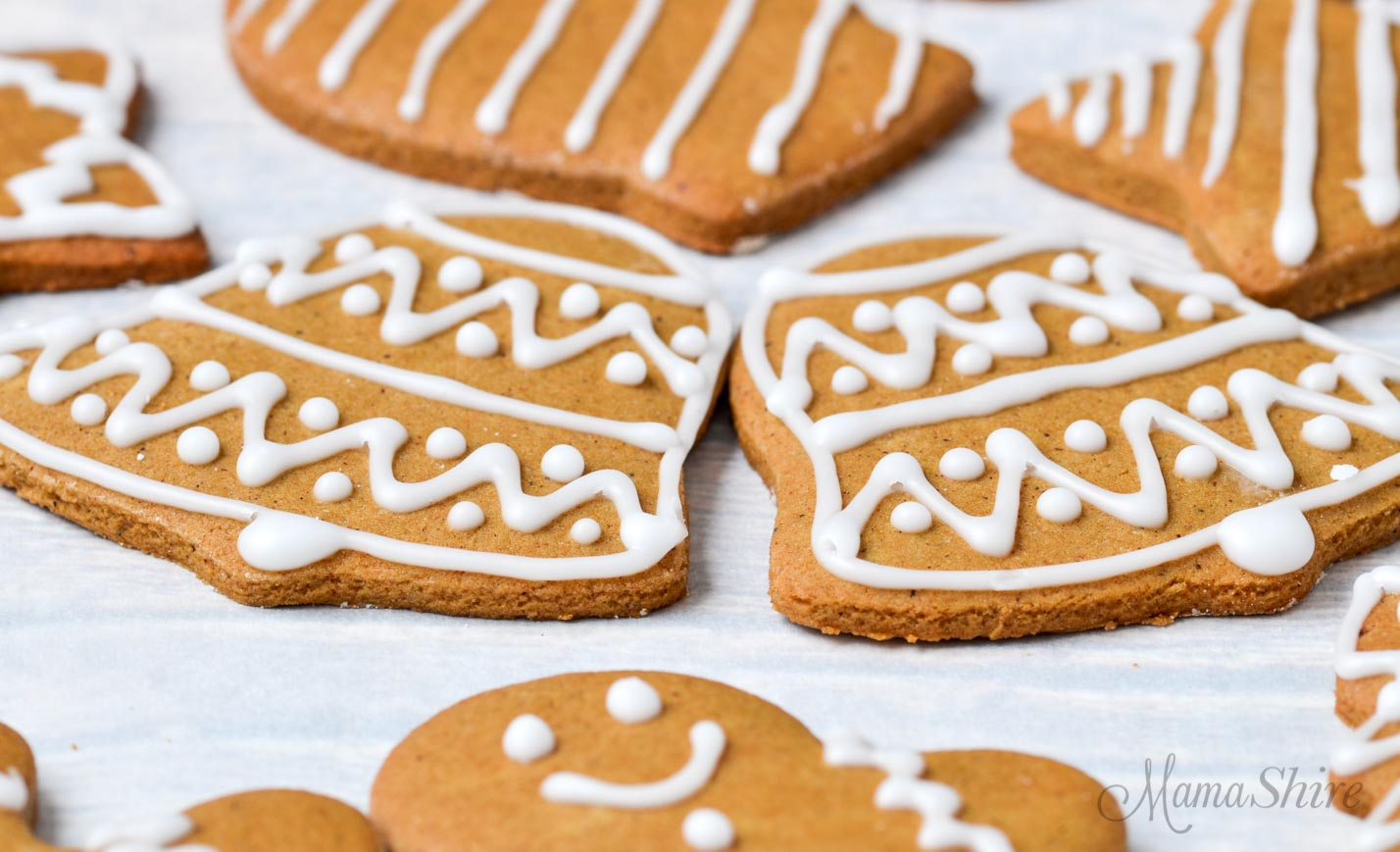 Closeup of gluten-free gingerbread cookies.