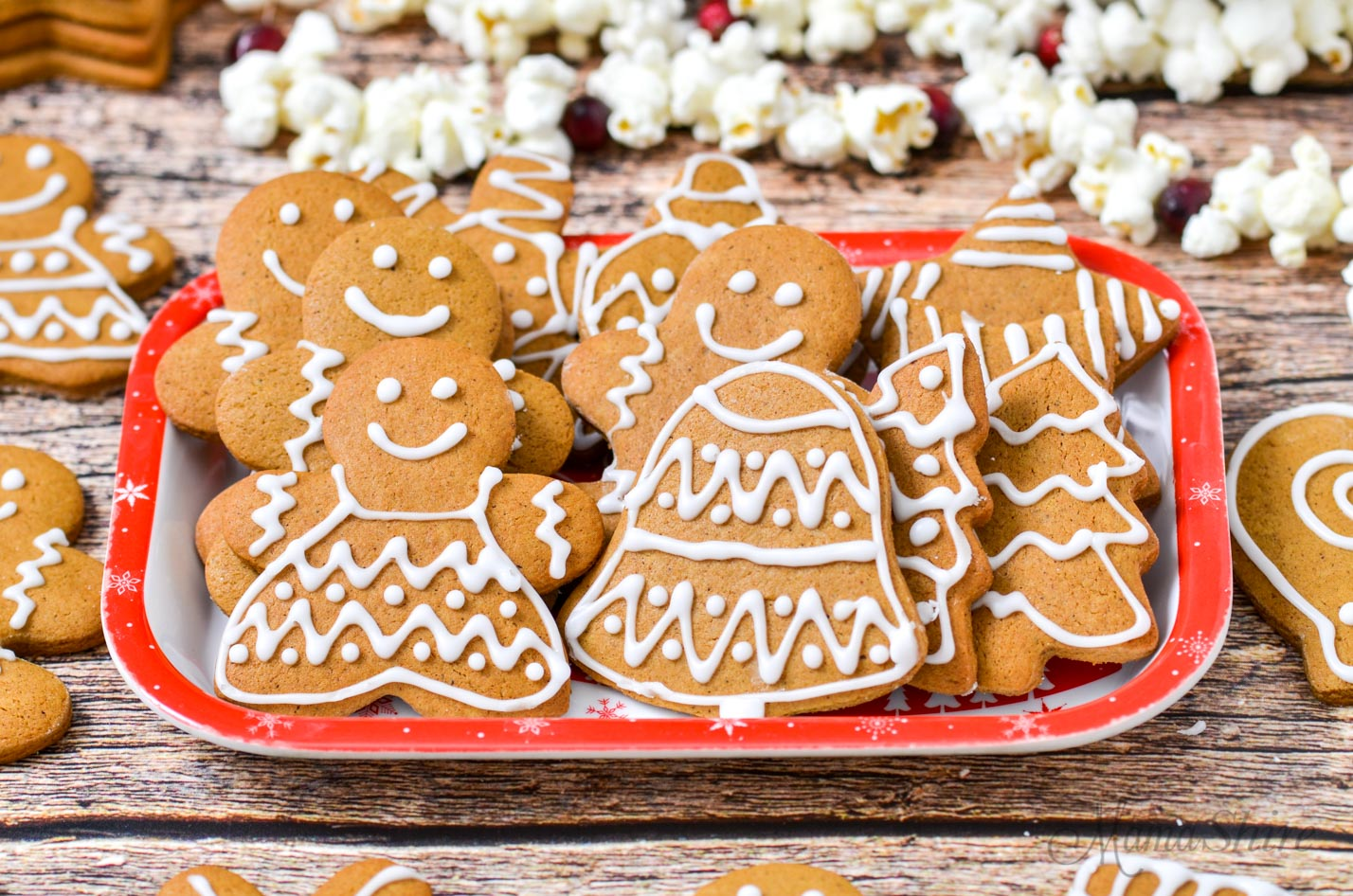A tray of Christmas Cookies - gingerbread cookies.