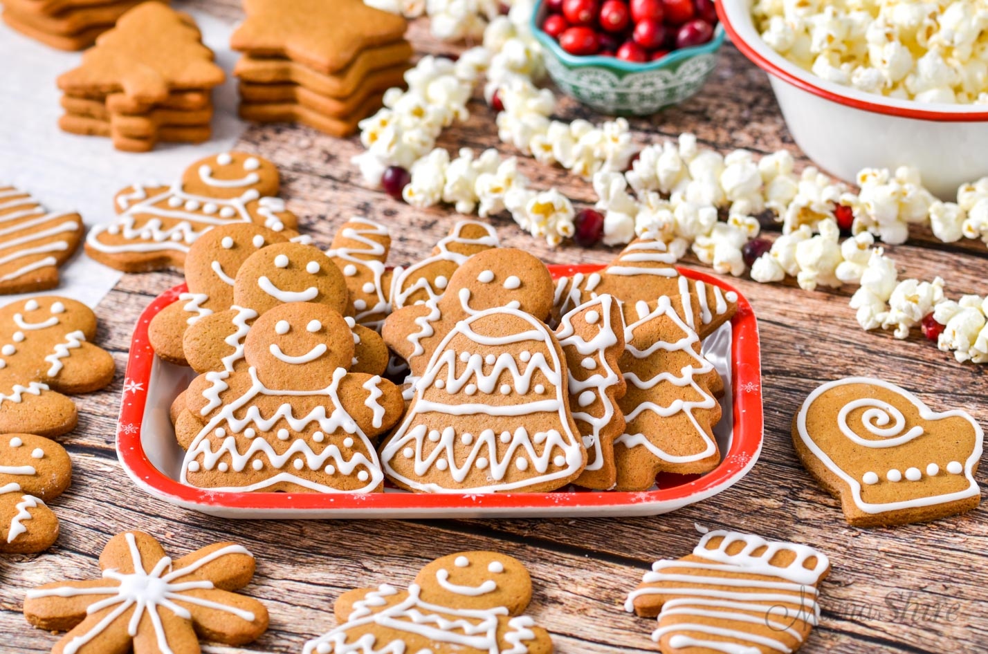 A tray of festive gluten-free gingerbread cookies.