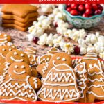 Gingerbread cookies with white easy icing. Made from a gluten-free recipe.