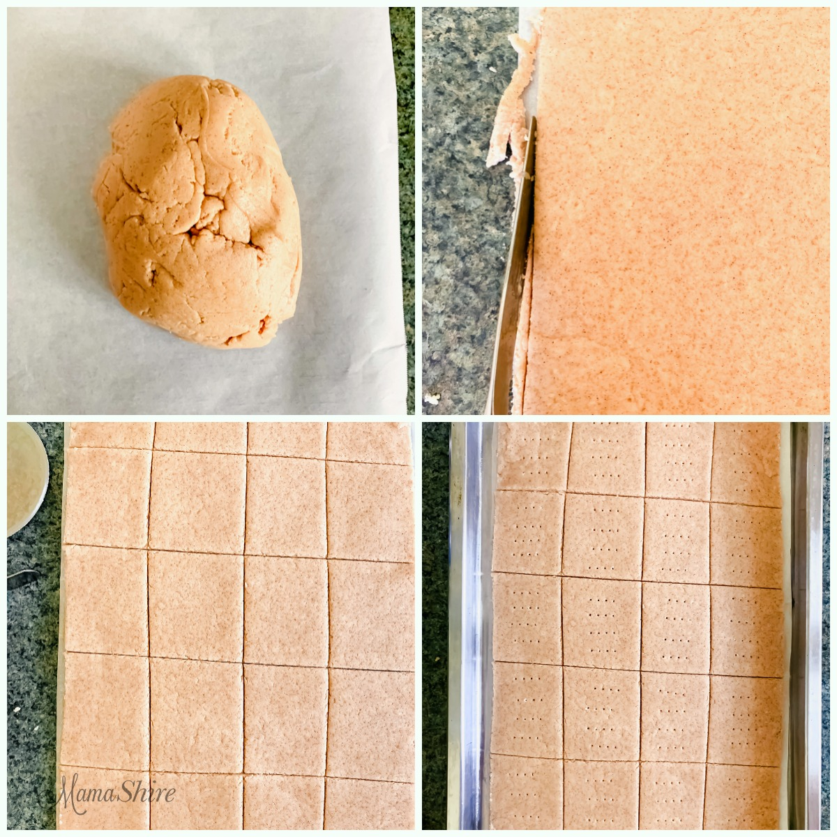 Steps to roll out the dough for making gluten-free graham crackers