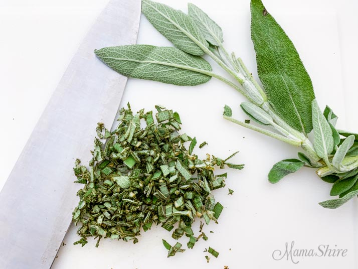 Fresh sage and chopped sage.