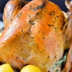 Herb Roasted Turkey made with dairy-free herbed butter.