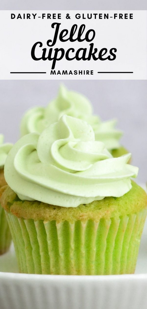 A delicious cupcake decorated for St. Patrick's day made with green Jello and green frosting.