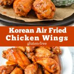 Air fried chicken wings covered with a Korean spicy and sweet sauce.