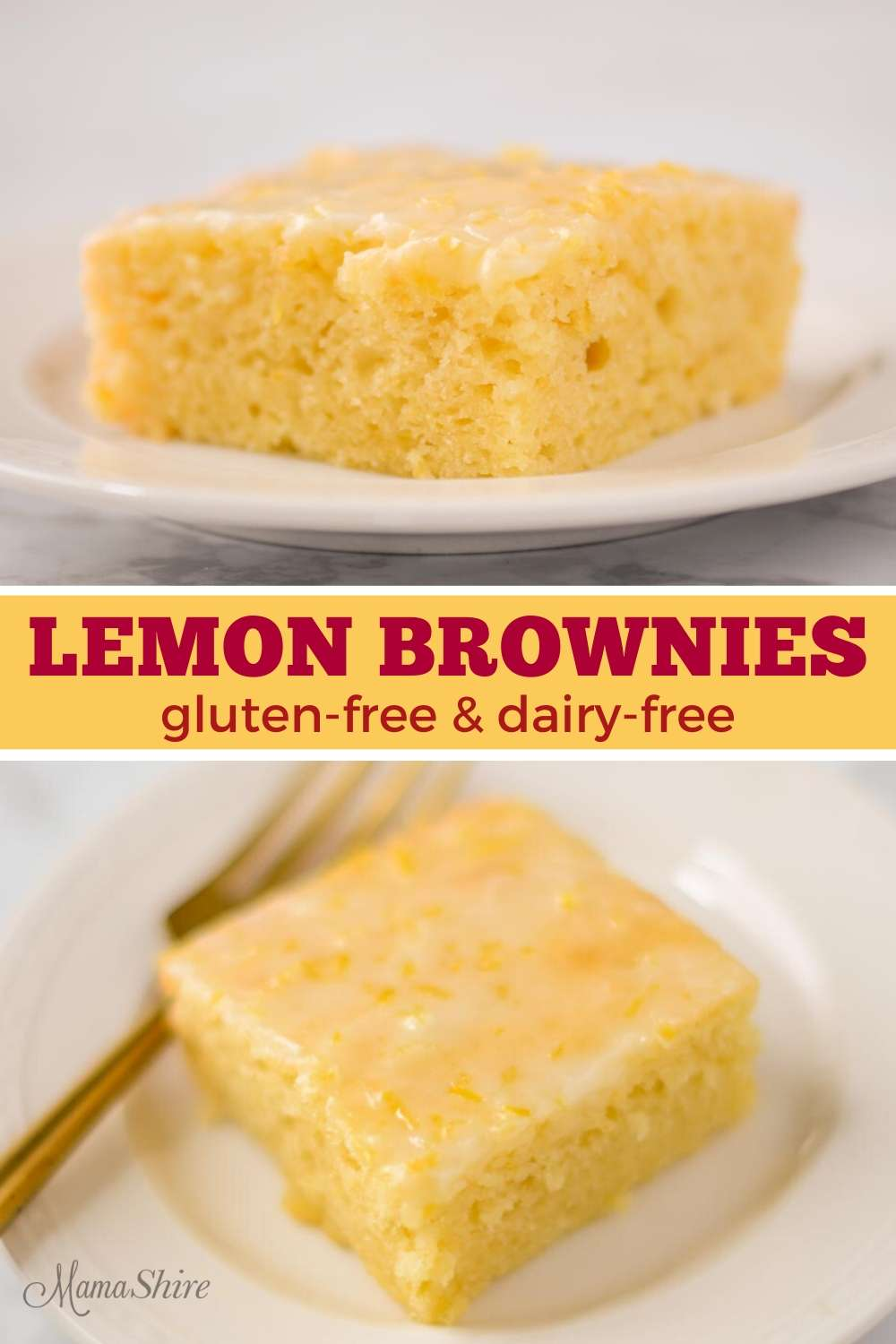 A slice of gluten-free lemon brownies on a white dessert plate.
