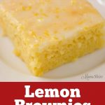 A lemon brownie on a white serving plate made from a gluten-free and dairy-free recipe.