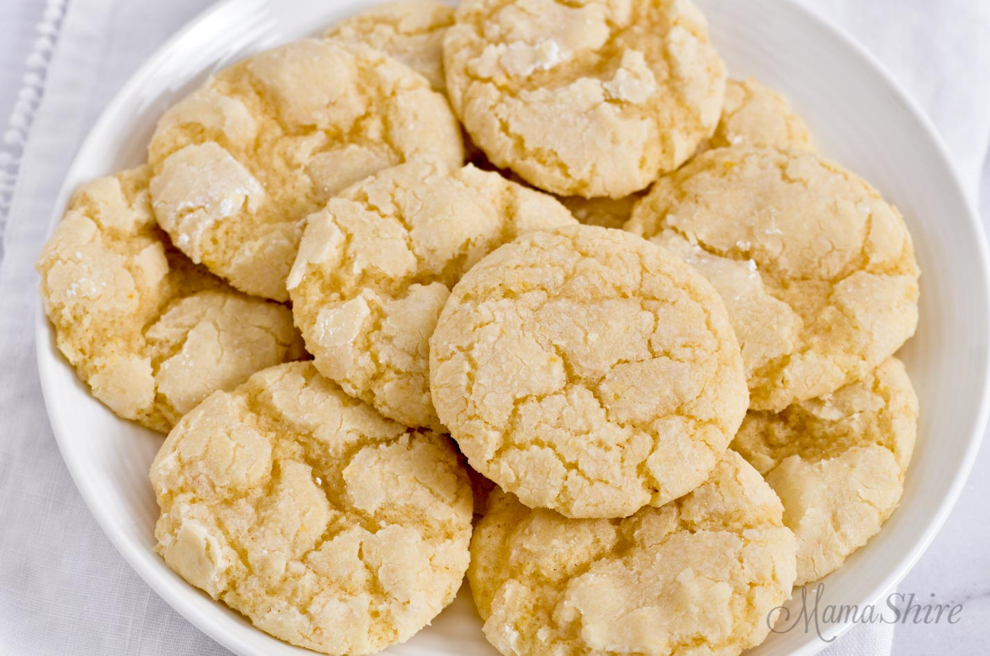Gluten-free lemon crinkle cookies.