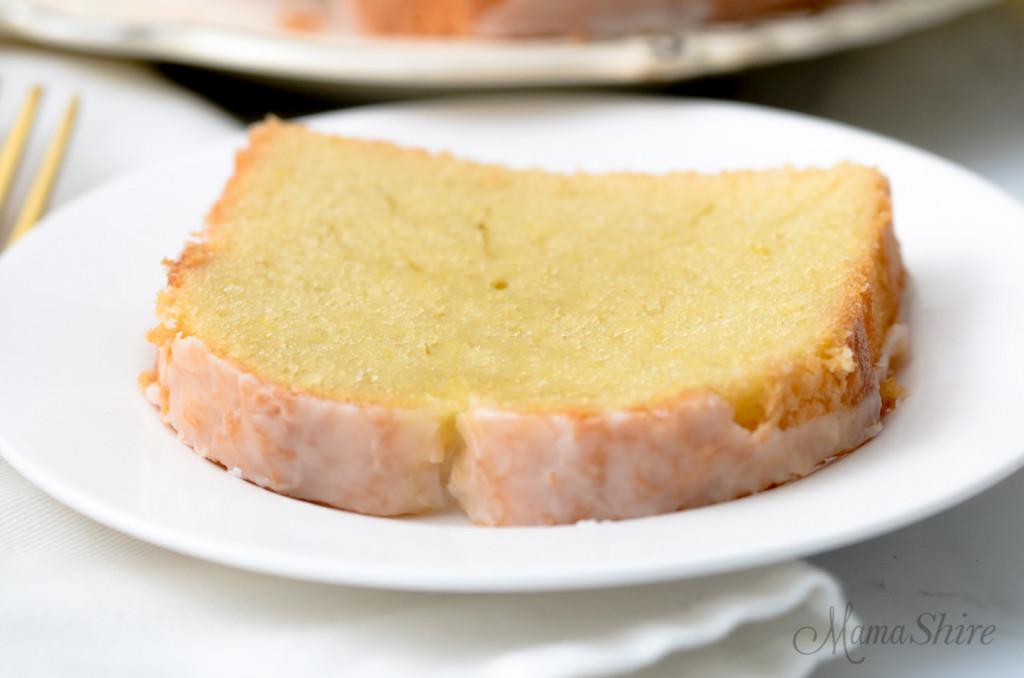 A slice of gluten-free & dairy-free lemon loaf.
