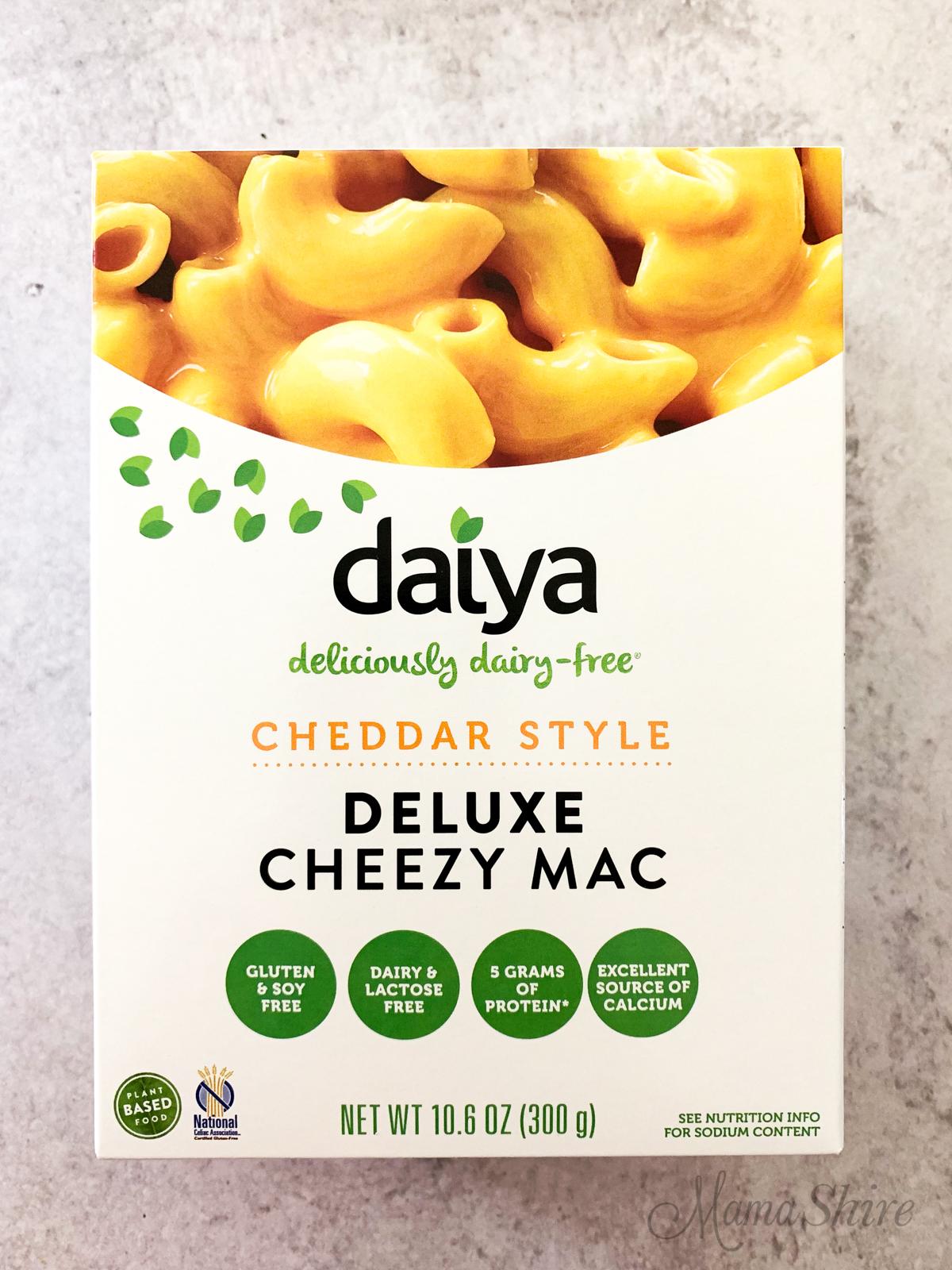 Daiya brand of dairy-free macaroni and cheese.