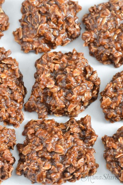 Oats, peanut butter, and chocolate make up these delicious gluten-free no bake cookies.