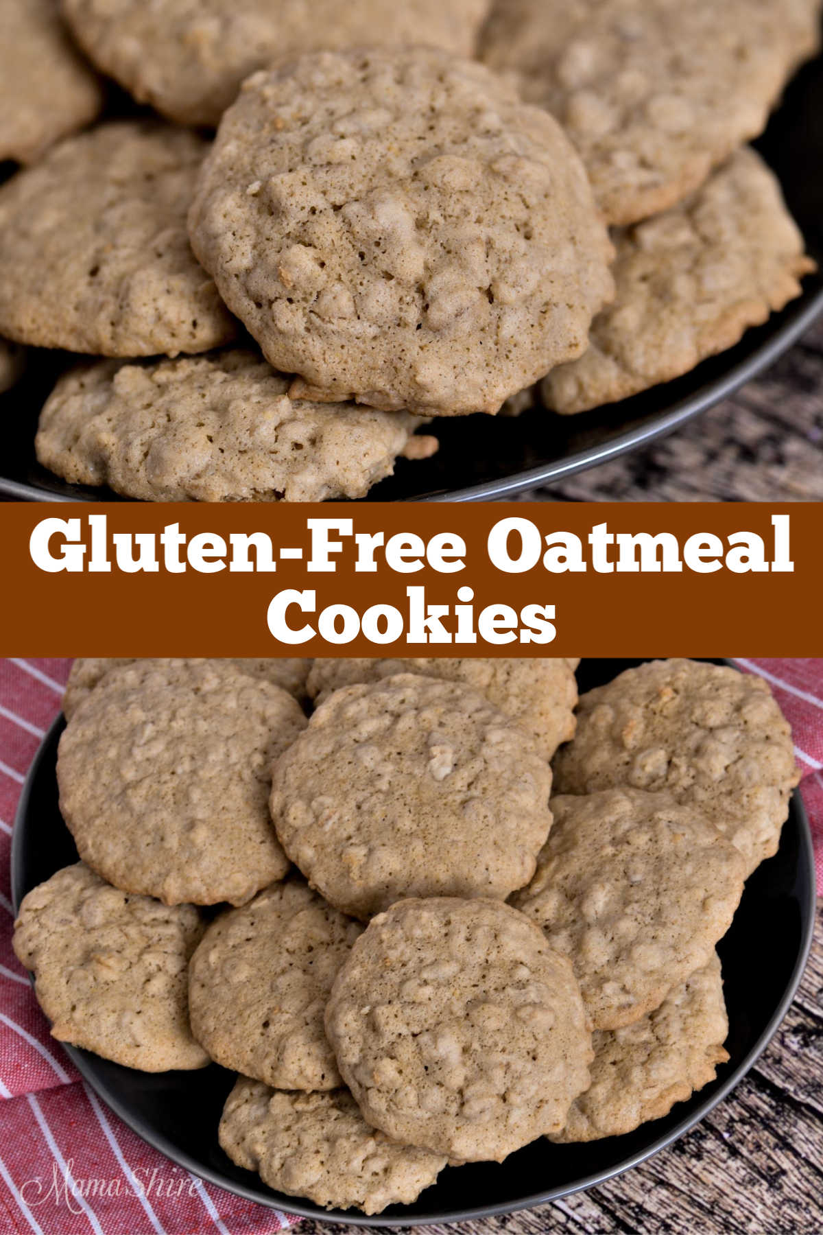 A pile of Gluten-Free Oatmeal Cookies on a black plate.