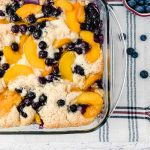 Gluten-Free Peach Blueberry Cobbler fresh from the oven.