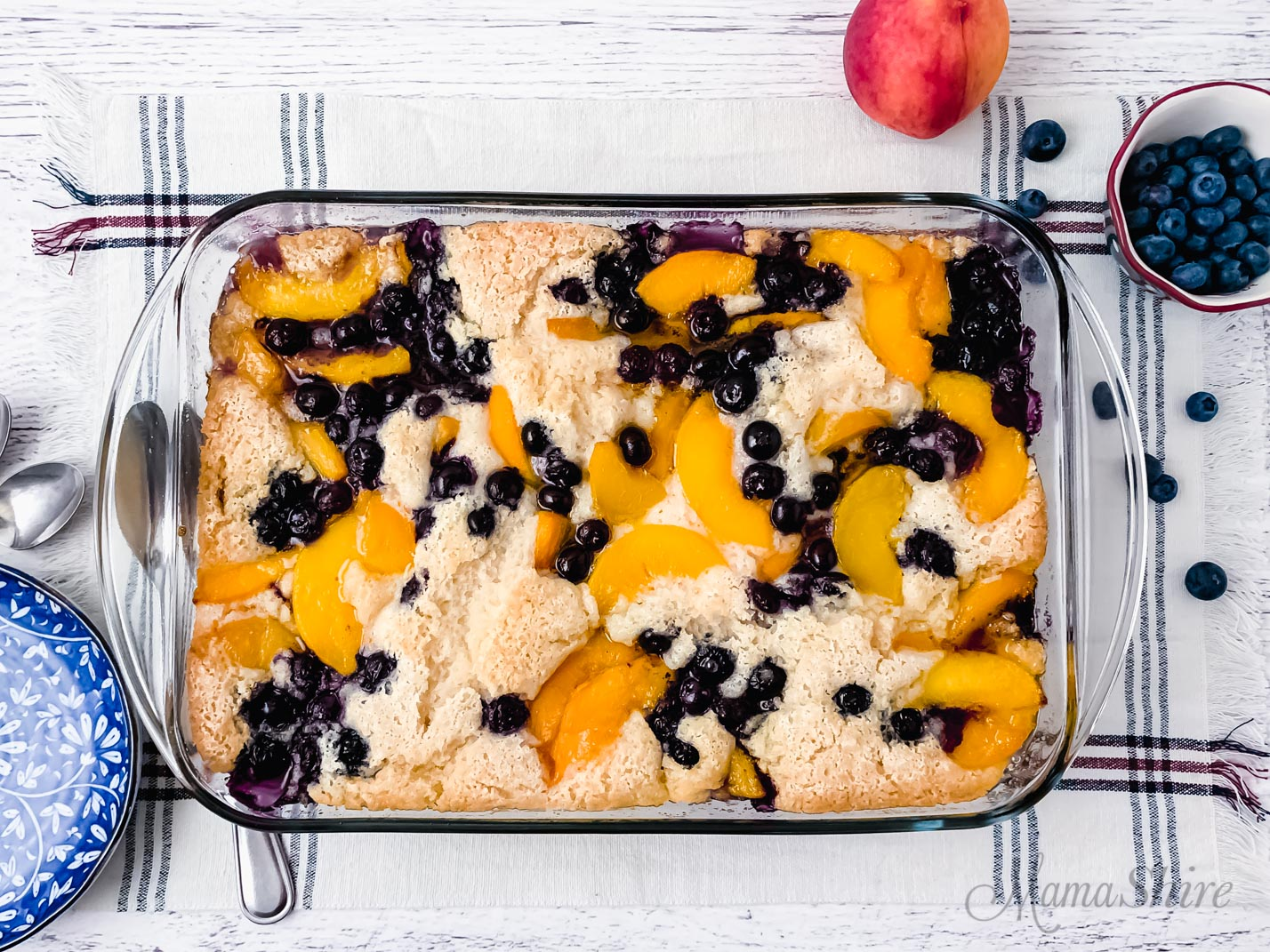 Freshly baked gluten-free peach blueberry cobbler.