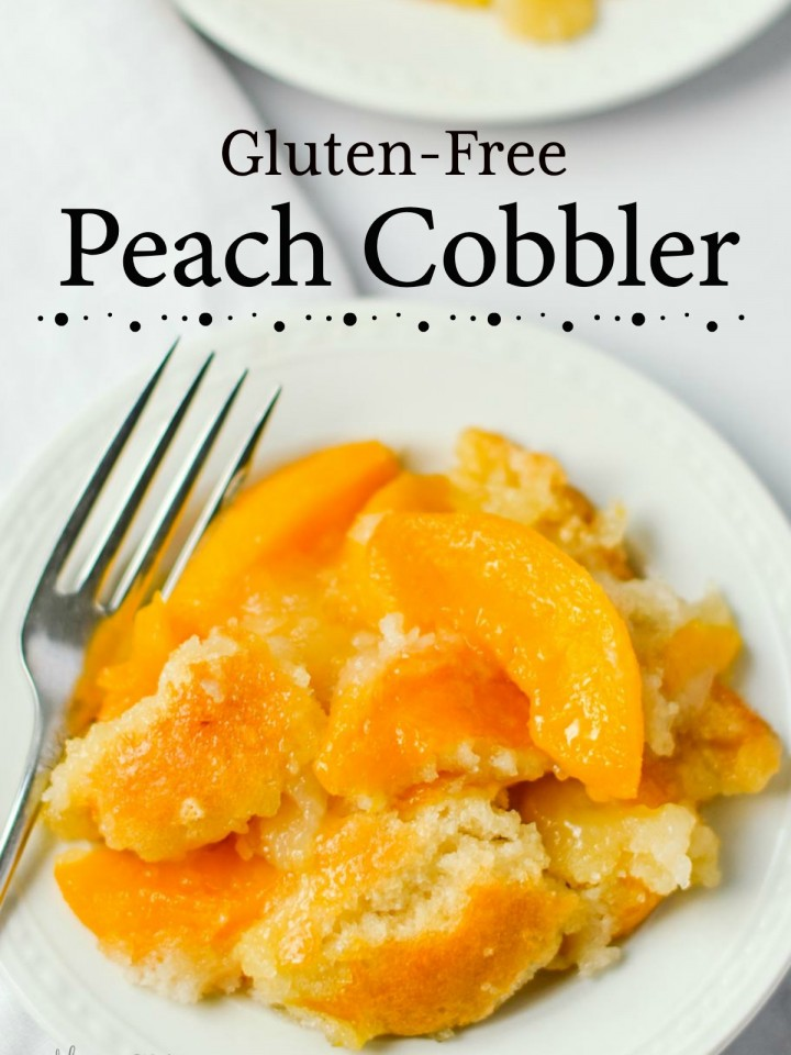 A beautiful gluten-free peach cobbler on a small white serving plate.