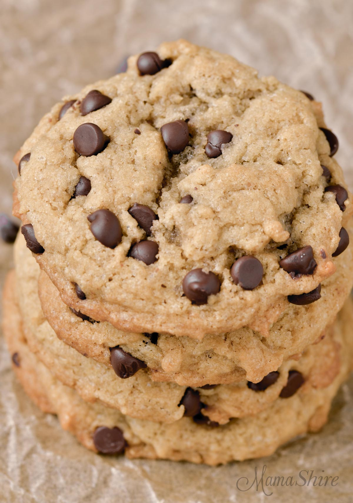 Peanut butter chocolate chip cookies made from a gluten-free recipe.
