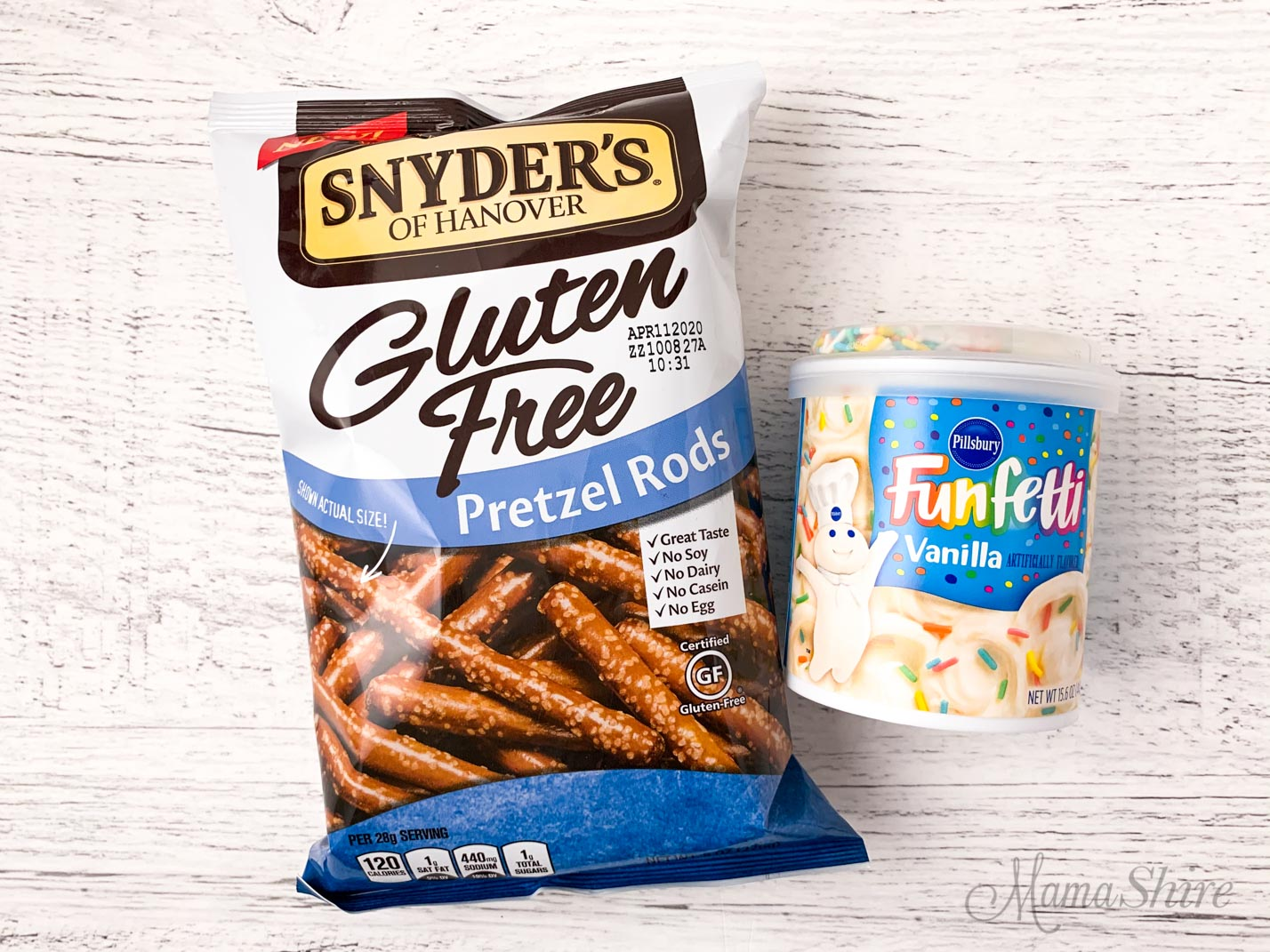 Two ingredients needed for yummy icing covered gluten-free pretzels. A bag of Snyder's brand gluten-free pretzel rods and a can of Pillsbury Funfetti vanilla icing.