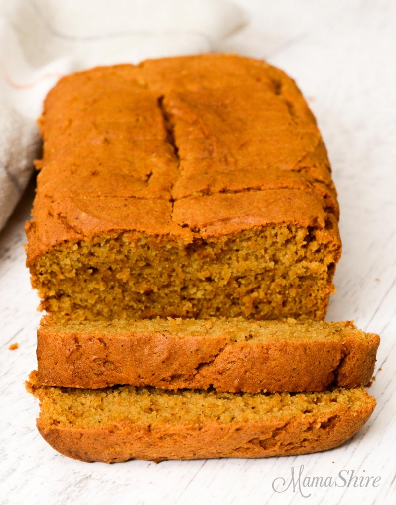 Sliced gluten-free pumpkin bread.
