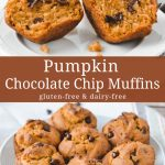 Pumpkin muffins with chocolate chips.