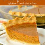 A single slice of gluten-free pumpkin pie.