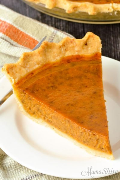 A slice of gluten-free pumpkin pie on a white plate.