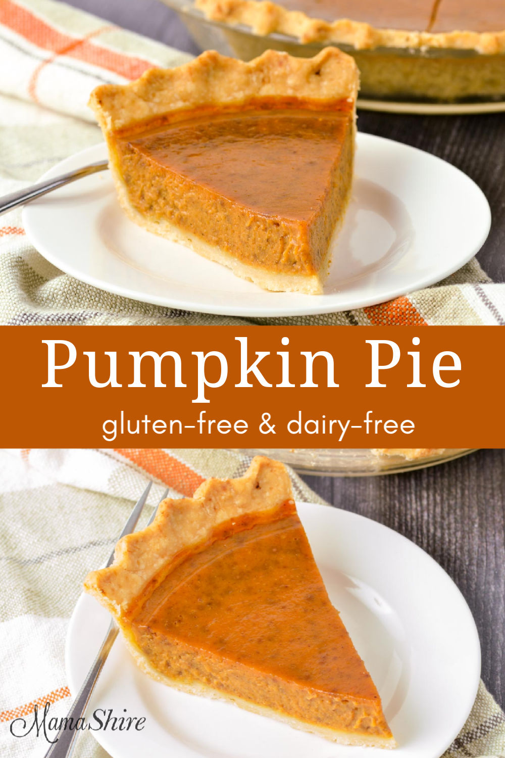 A slice of delicious pumpkin pie made with a gluten-free and dairy-free recipe.