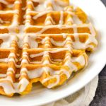 Maple glaze drizzled over Belgian waffles
