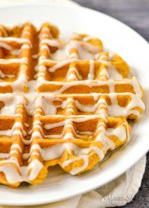 Gluten-free pumpkin spice Belgian waffle.