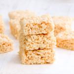 A stack of homemade rice krispy treats.