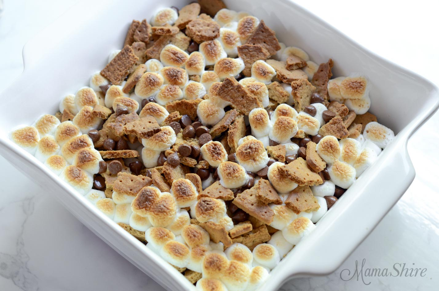 Fresh out of the oven brownies covered in roasted marshmallows, crushed graham crackers, and melted chocolate chips.