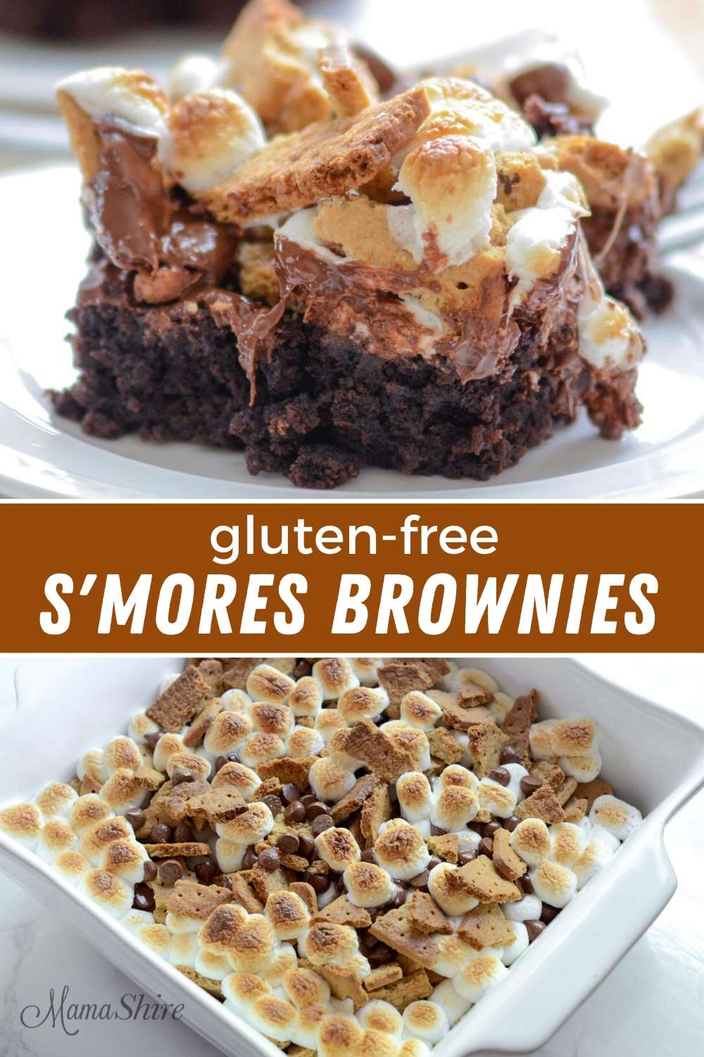 The top picture is a serving of gluten-free s'mores brownies. The bottom picture is the gluten-free smores brownies right out of the oven with the tops of the marshmallow browned.