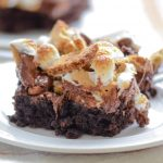 One serving of s'more brownies with gluten-free ingredients.