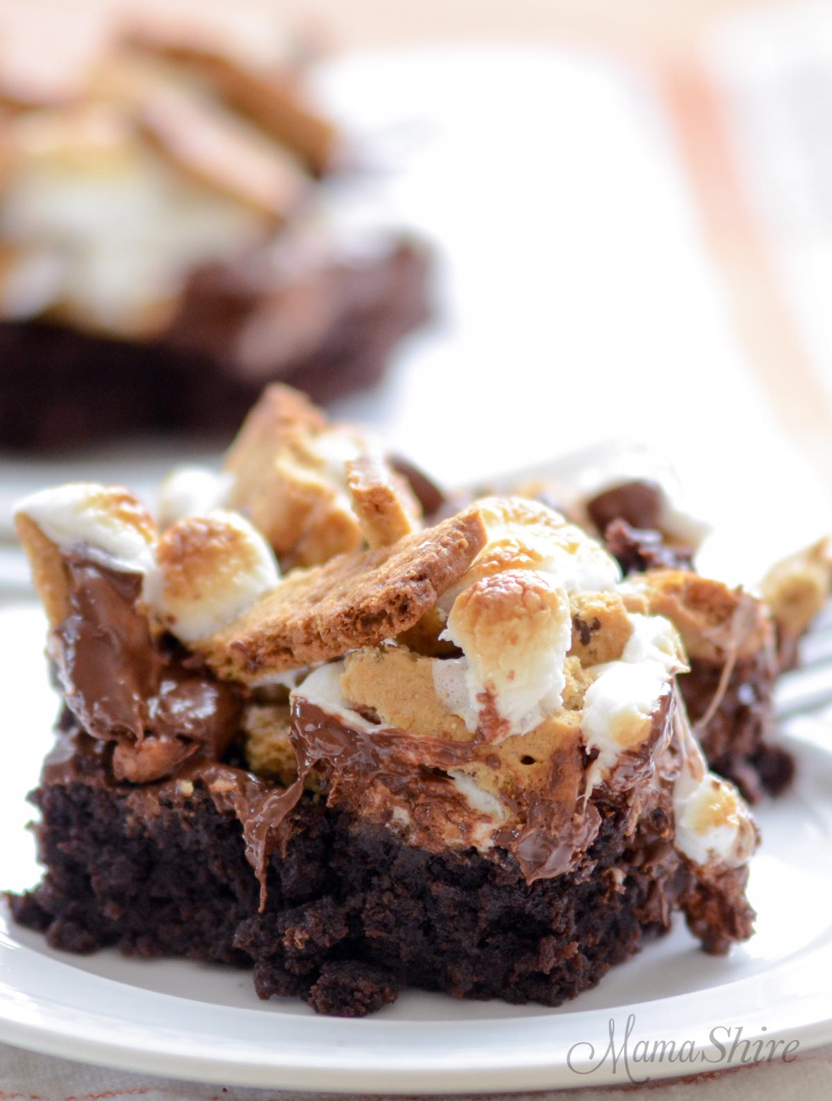A serving of brownies with roasted marshmallows, gluten-free graham crackers, and dairy-free chocolate chips.