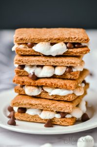 A stack of ooey, gooey gluten-free s'mores that were baked in the oven.
