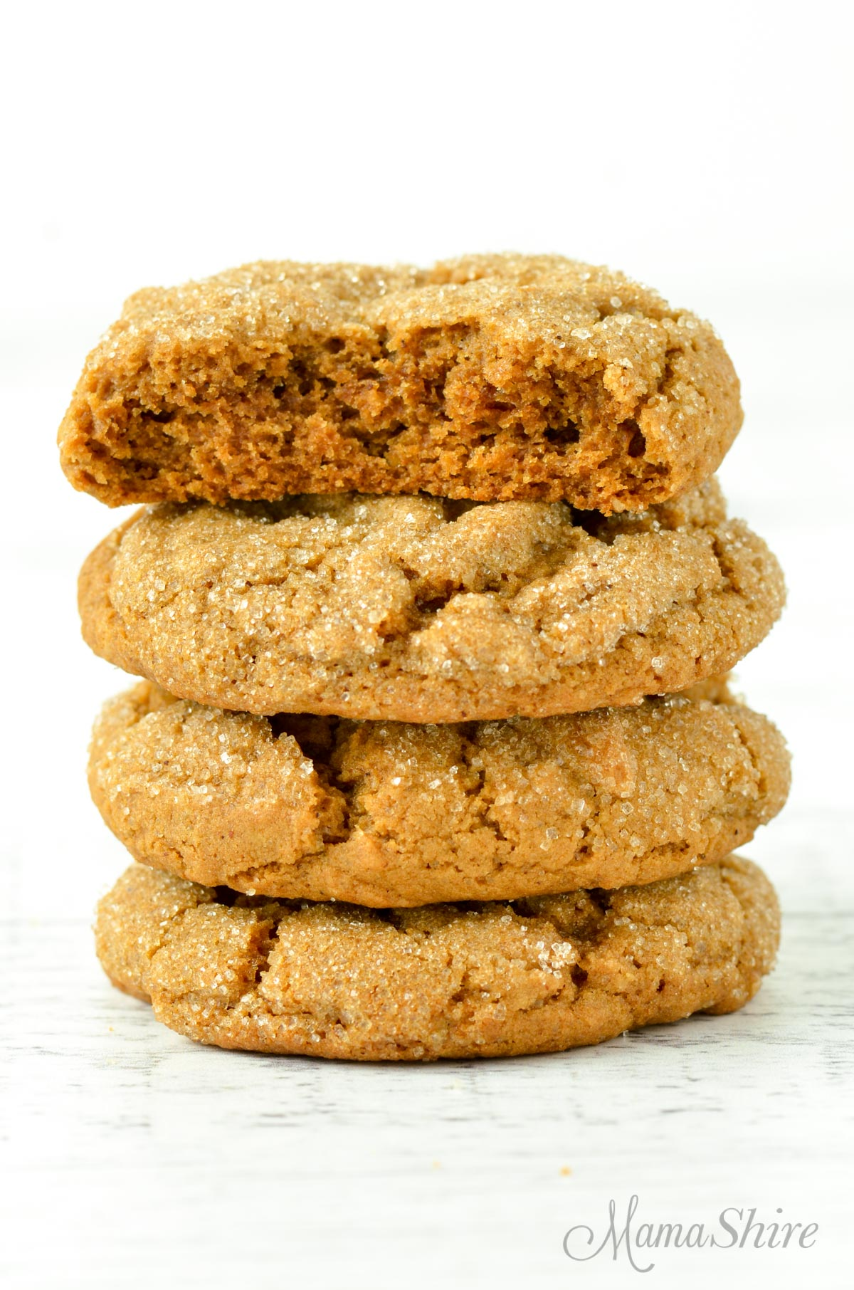 A stack of gluten-free soft molasses cookies.