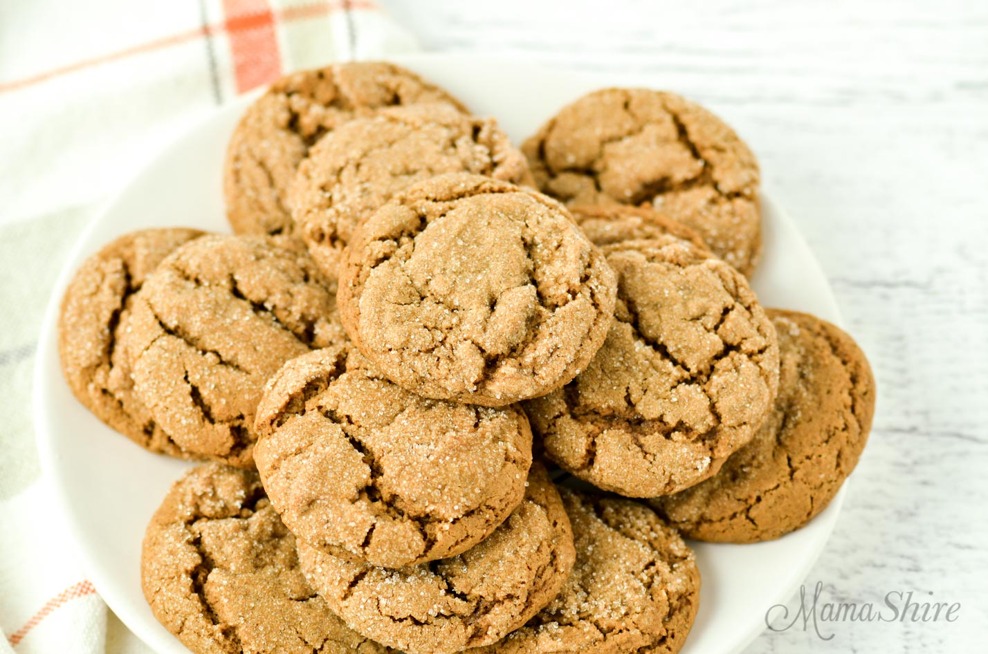 A plate of gluten-free soft molasses cookies.