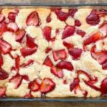 A freshly baked strawberry cobbler.