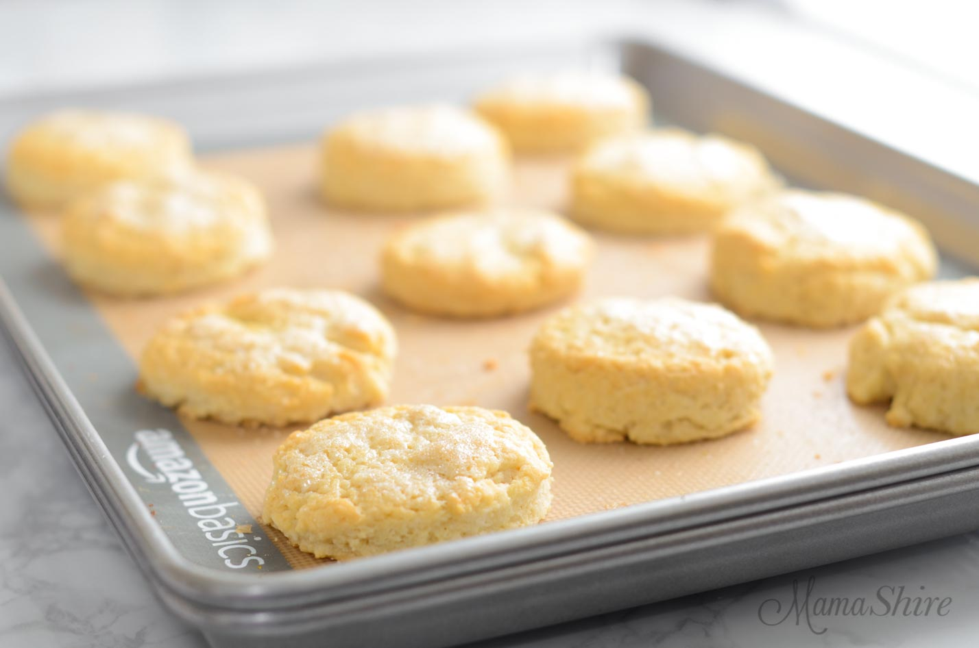Gluten-free shortcakes that have been baked on double baking pans to prevent the browning on the bottom.